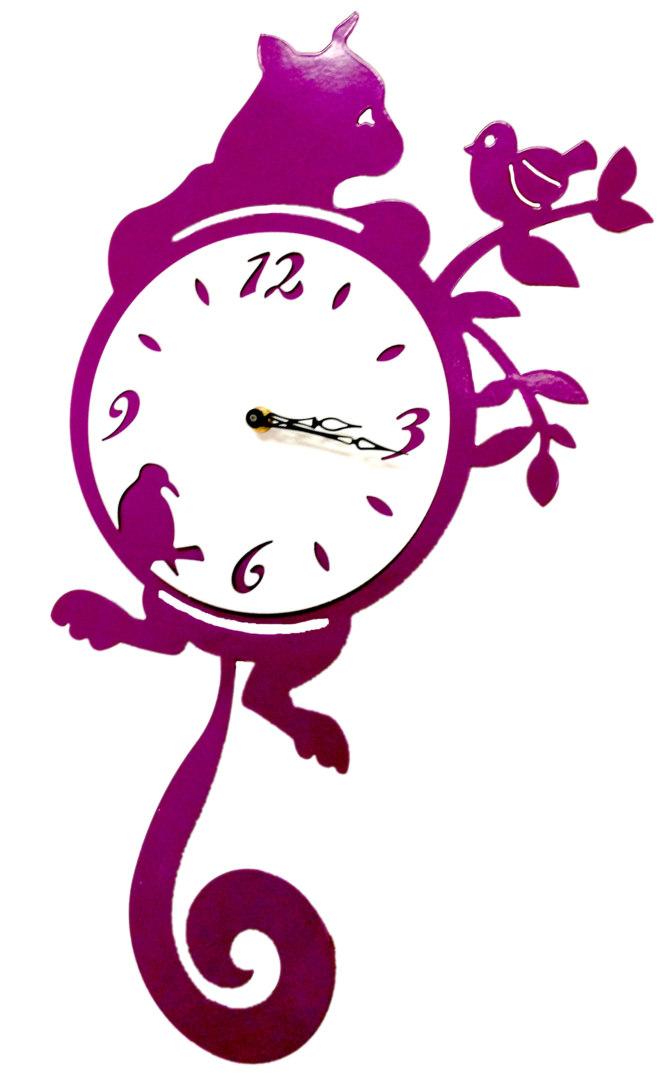 Часы «Кот и птица»